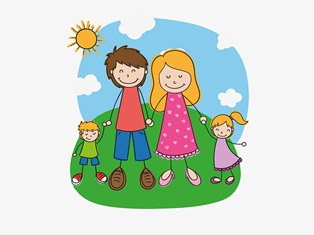 счастливая семья с двумя детьми на природе