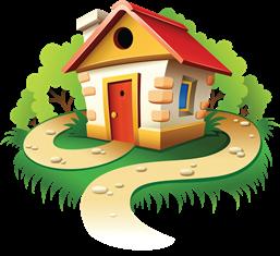 маленький дом с деревьями и с дорогой