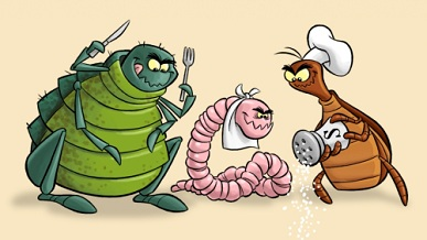 Parasites Getting Ready To Eat Cartoon